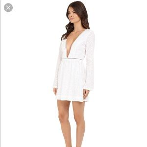 Gypsy 05 White Plunging V Neck Mini Dress